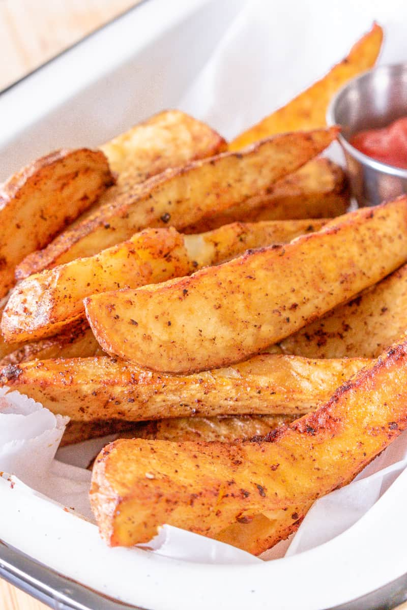 vertical view of potato wedges