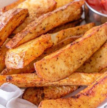 closeup view potato wedges