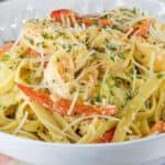 Cajun Chicken And Shrimp Pasta Recipe in white bowl