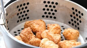 Finished fried chicken in basket