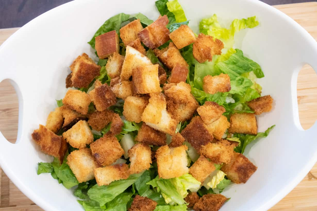croutons over lettuce