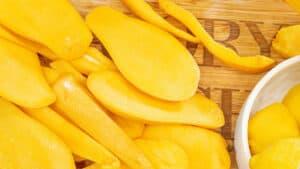 cut up Mango on cutting board