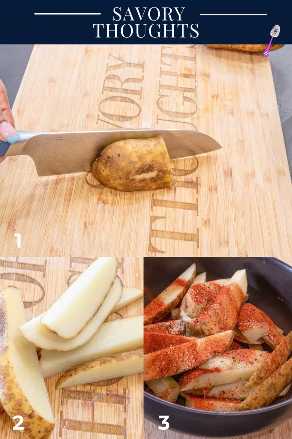 step by step guide to make seasoned wedges
