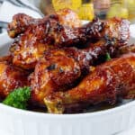 cooked bbq air fryer poultry in white bowl with parsley