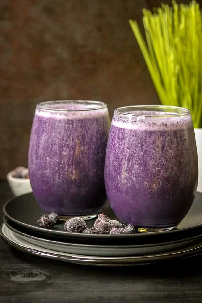 two glasses of blueberry smoothie