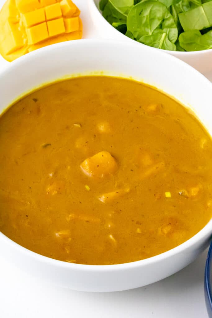 close-up view of mango curry