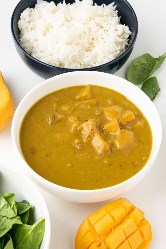 mango curry with rice and mango