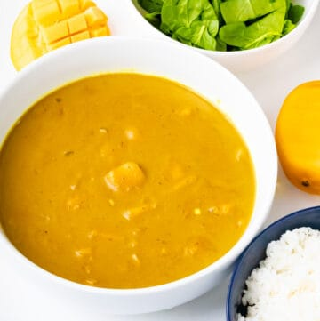 horizontal view of mango curry with spinach and mango and rice on white bowl