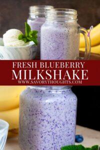 Fresh Blueberry Milkshake Recipe Pinterest Pin