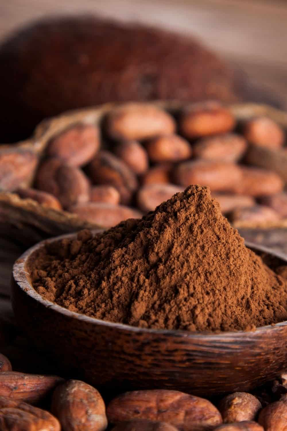 cocoa powder in wooden bowl
