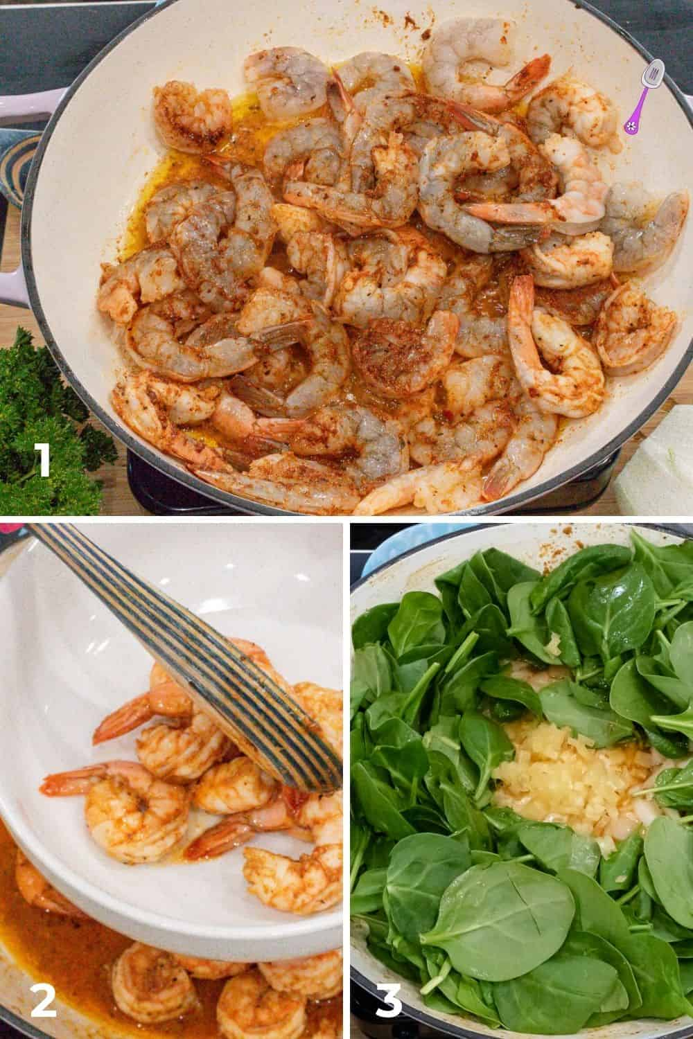 step 1 through 3 photo guide. spinach and shrimp in skillet