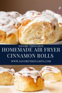 Homemade Air Fryer Cinnamon Rolls With Cream Cheese Frosting Pinterest Pin