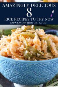 okra rice in blue bowl
