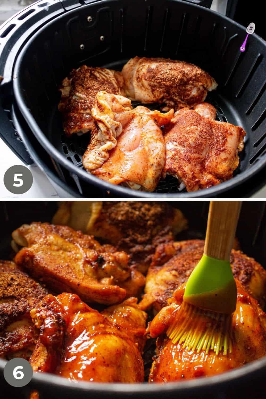 Chicken Thighs in air fryer basket