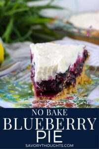 No Bake Blueberry Pie - Savory Thoughts Pinterest Pin