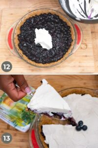 adding whipped cream and cutting pie