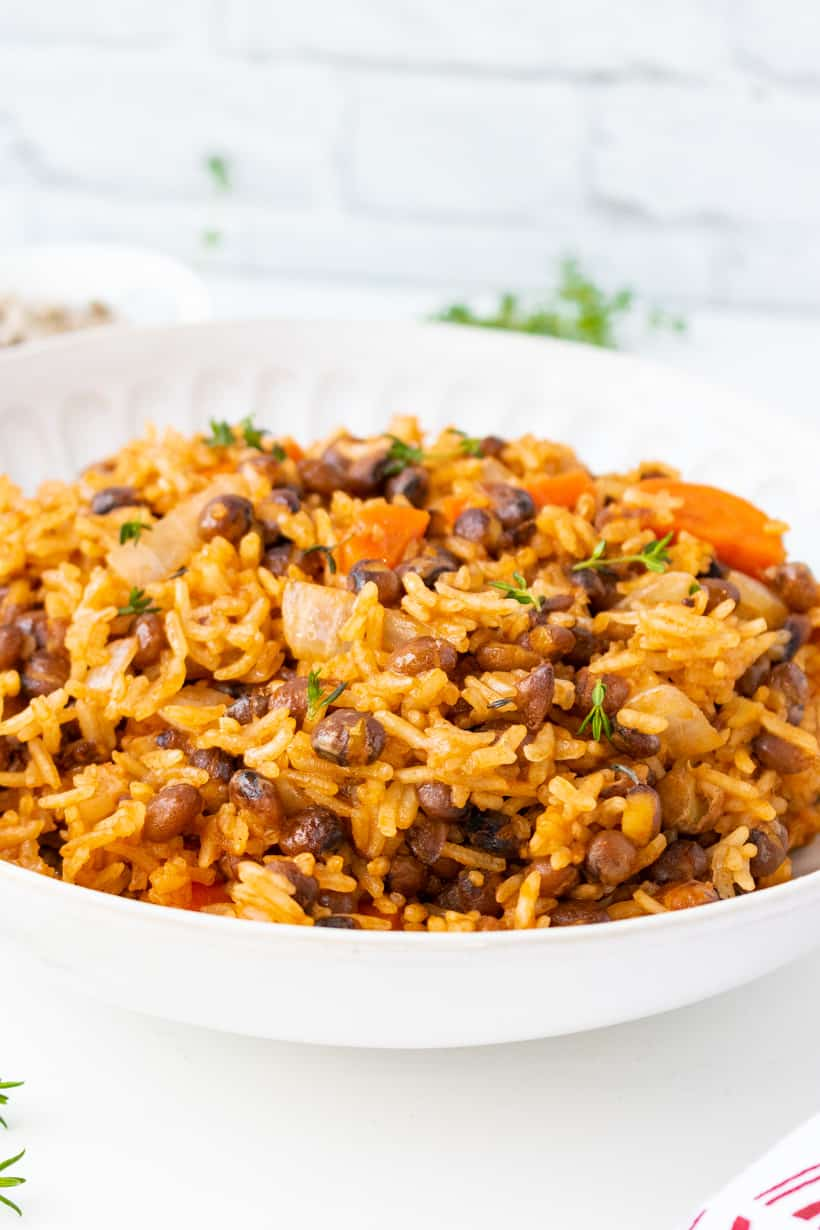 rice and pigeon peas in white bowl