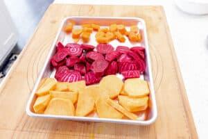 Peeled root vegetables in basket