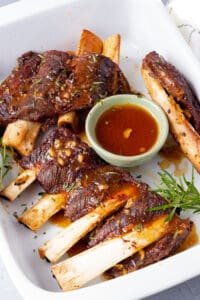 instant pot ribs topped with sauce