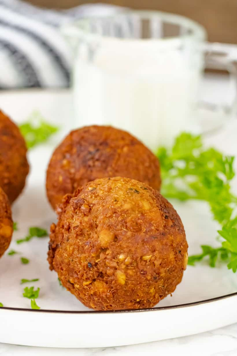 falafel balls on white plate