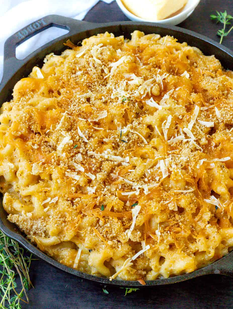 cooked smoked Mac and cheese on skillet