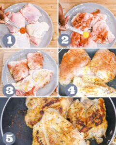 step 1-5 to make oven baked chicken and rice