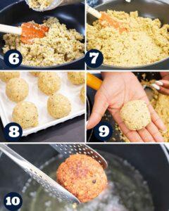 steps 6-10 to make falafels