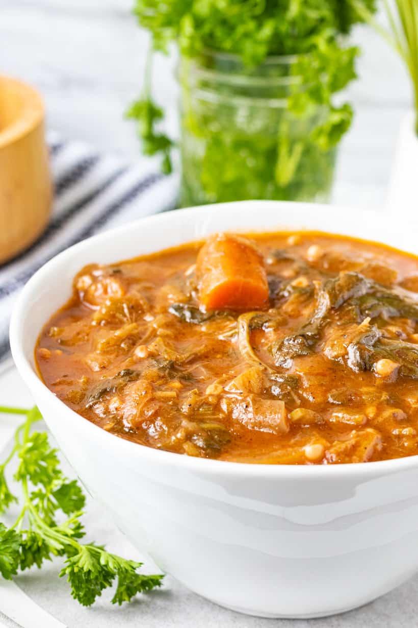 okra stew in white bowl