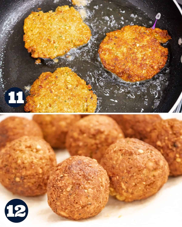 frying falafels in pan