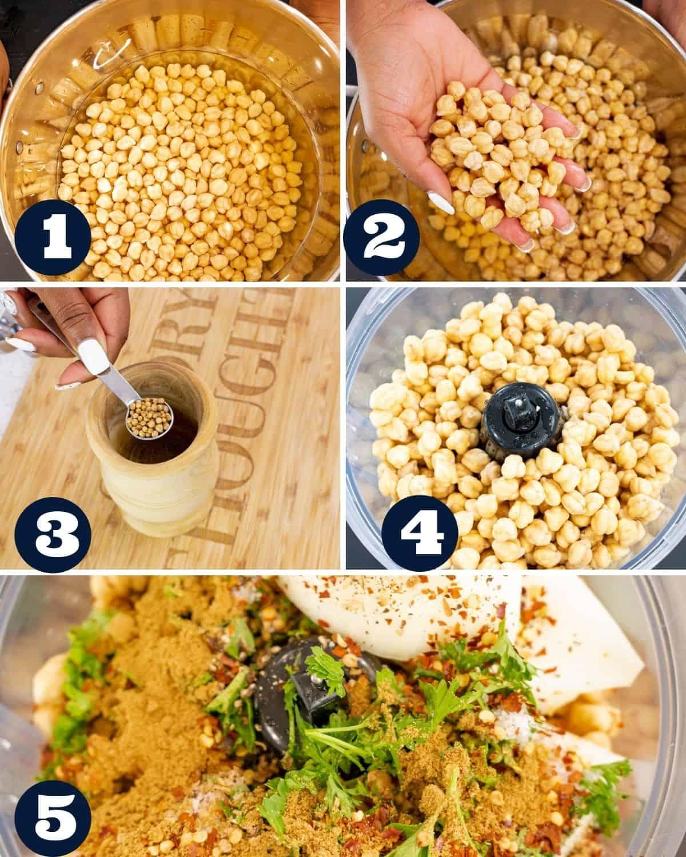steps 1-5 to make falafels