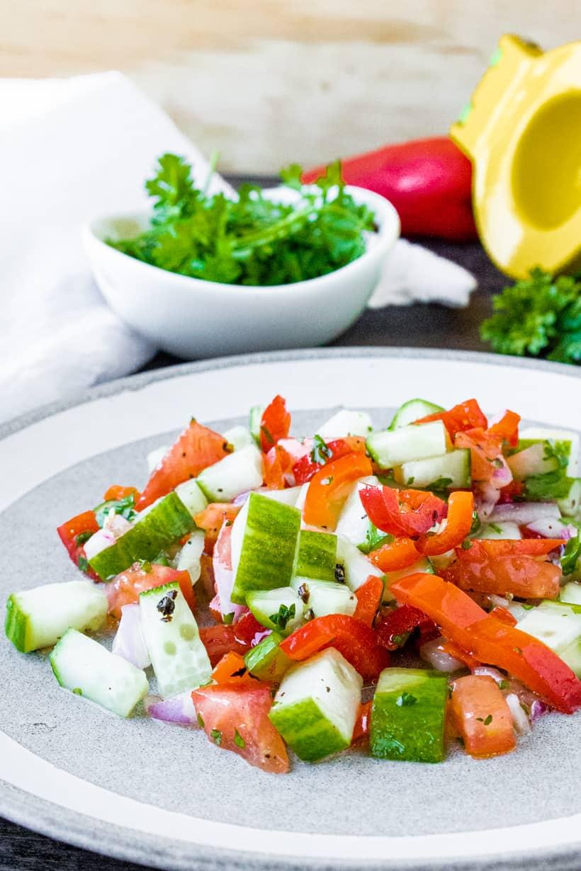 Israeli Salad on white plate