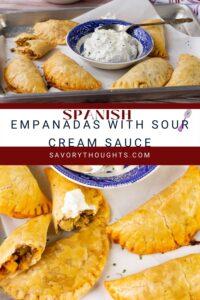spanish empanadas with sour cream sauce Pinterest pin